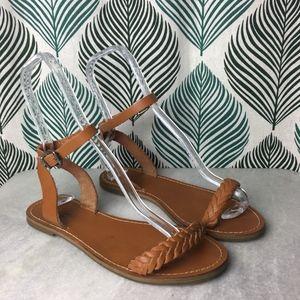 Madewell Brown Leather Braided Sightseer Sandal